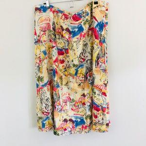 Liz Claiborne Travel Market Linen Midi Skirt